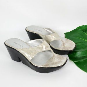 Nine West Wedge Thong Sandal Sake Print Leather